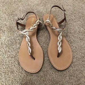Practically new gold braided sandals